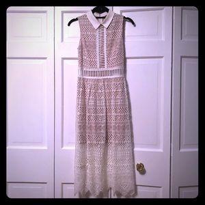 ASOS Lace Collar Geo Lattice Midi Dress - Ivory